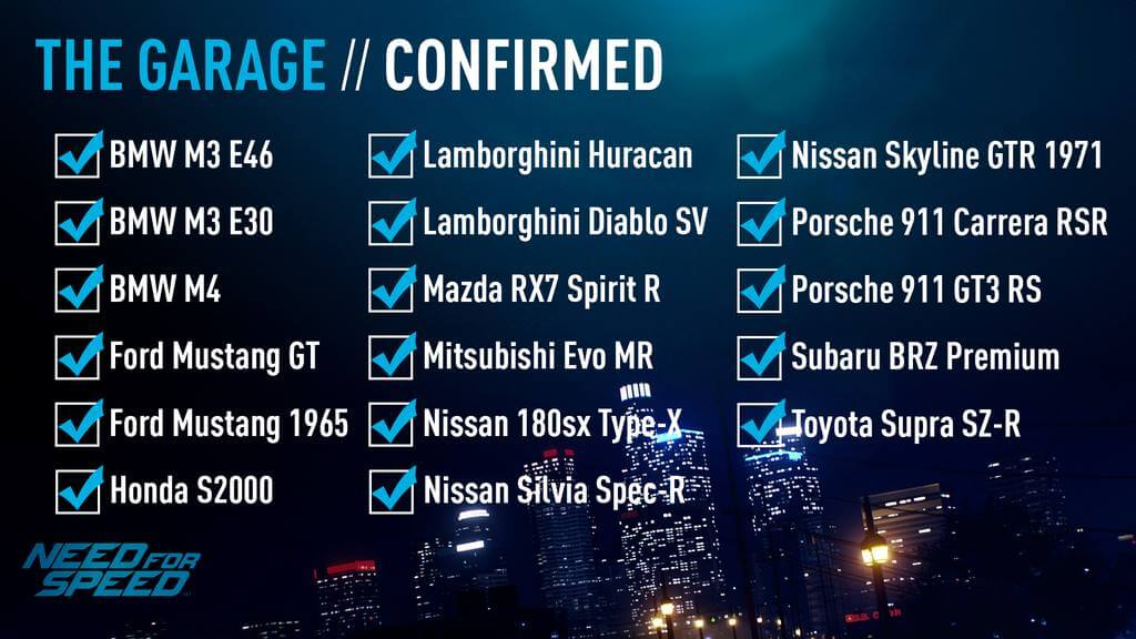 need for speed car list